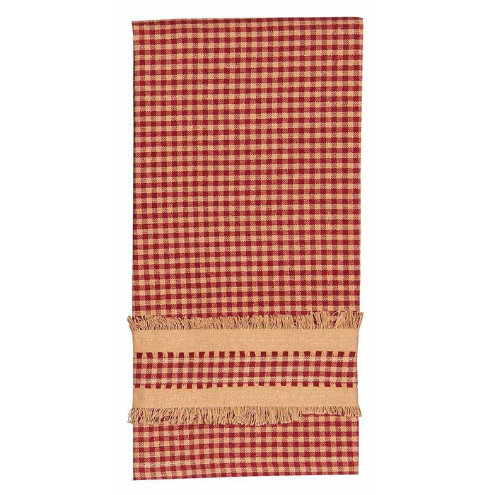 Newbury Gingham with Burlap Edge Towels Barn Red by Raghu (Set of 2)