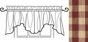 Heritage House Barn Red Scalloped Valance