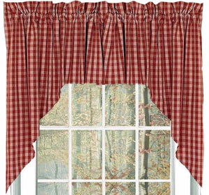 "Heritage House Barn Red and Nutmeg 72"" x 36"" Lined Cotton Swag by Raghu"