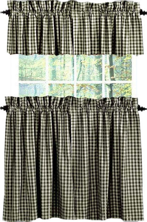 Heritage House Black 24 Inch Curtain Tiers