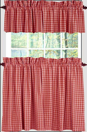Heritage House Barn Red 24 Inch Curtain Tiers
