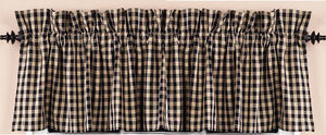 "Heritage House Check Black and Nutmeg 72"" x 15.5"" Lined Cotton Valance by Raghu"