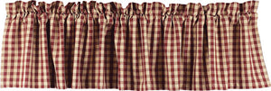 "Heritage House Check Barn Red and Nutmeg 72"" x 15.5"" Lined Cotton Valance by Raghu"