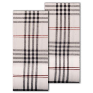 Chesterfield Check Towel Cream - Black - Red (Set of 2)