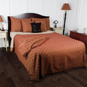 Marshfield Jacquard Woven Bedcover Queen Barn Red by Raghu