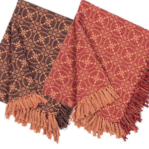 Marshfield Jacquard Woven Afghan Throws Red or Black