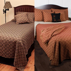 Marshfield Jacquard Bedcover Twin Queen King Red or Black