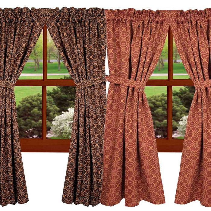 Marshfield Jacquard Curtain Panels Red or Black