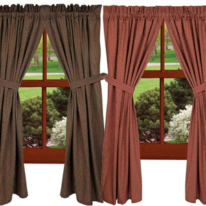 Newbury Gingham Curtain Panels Red or Black