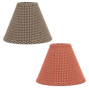 Newbury Gingham Fabric Lampshades Red or Black
