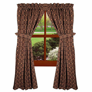 "Marshfield Jacquard Woven Black and Tan 63"" Cotton Curtain Panels by Raghu"