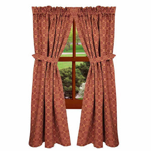 "Marshfield Jacquard Woven Barn Red and Tan 72"" x 63"" Lined Cotton Curtain Panels by Raghu"