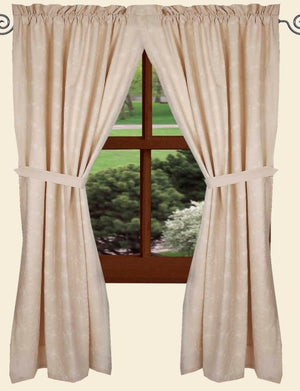"Candlewicking Cream 63"" Lined Cotton Curtain Panels by Raghu"