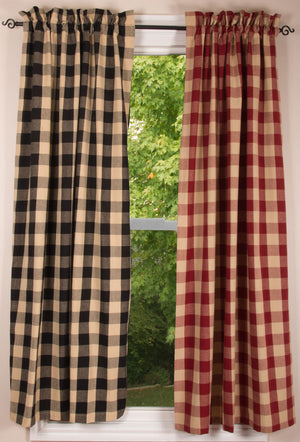 "Buffalo Check Curtain Panels - Black or Garnet - 63"" or 84"""