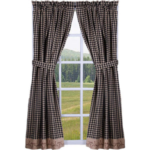 Berry Vine Check Curtain Panels 63 Inch - Black
