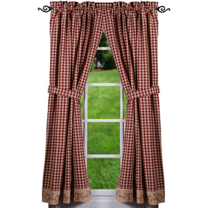 Berry Vine Check Curtain Panels 63 Inch - Barn Red