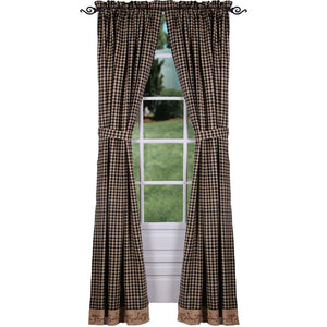 Berry Vine Check Drapery Panels 86 Inch - Black