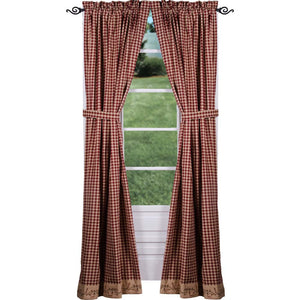 Berry Vine Check Drapery Panels 86 Inch - Barn Red