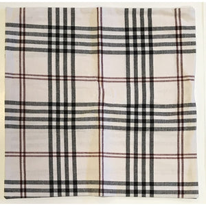 "Chesterfield Check Cream Black and Red 14"" Pillow Cover by Raghu"