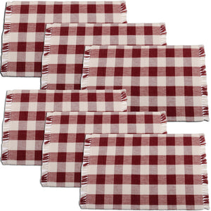 Buffalo Check Placemats - Red (Set of 6) from Home Collections by Raghu