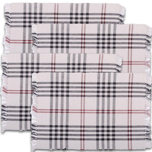 Chesterfield Check Placemat Cream - Black - Red (Set of 6) by Raghu