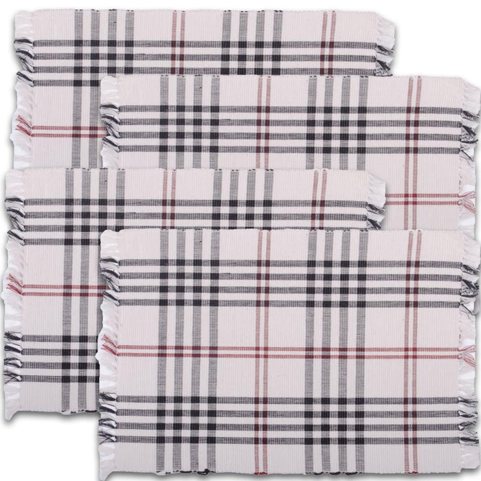 Chesterfield Check Placemat Cream - Black - Red (Set of 4) (PM591005)
