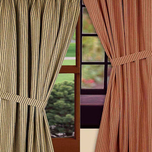 York Ticking Black or Barn Red Lined Curtain Panels