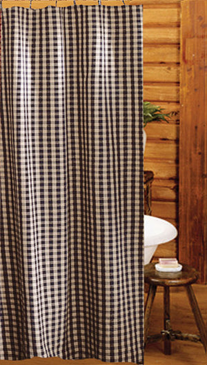 Heritage House Check Black Shower Curtain