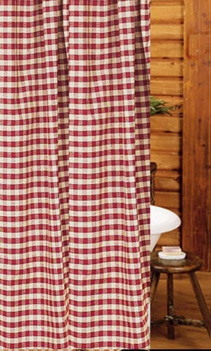 "Heritage House Check Barn Red and Nutmeg 72"" x 72"" Shower Curtain by Raghu"