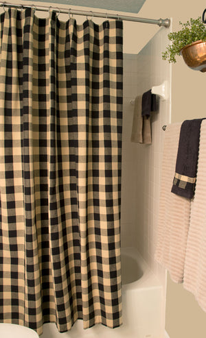 "Buffalo Check Black and Tan 72"" x 72"" Cotton Shower Curtain by Primitive Home Decors"