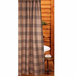 "Chesterfield Check Oat and Black 72"" x 72"" Shower Curtain by Raghu"