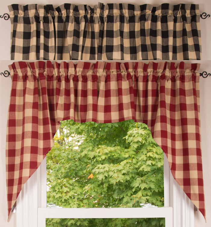 "Buffalo Check Black or Red and Tan 72"" x 36"" Lined Cotton Curtain Swag"