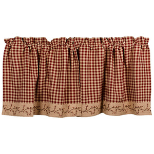 Berry Vine Check 24 Inch Curtain Tiers - Barn Red by Raghu