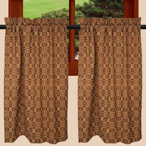 "Marshfield Jacquard Black and Tan 72"" x 36"" Lined Cotton Curtain Tiers by Raghu"