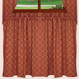 "Marshfield Jacquard Barn Red and Tan 72"" x 36"" Lined Cotton Curtain Tiers by Raghu"