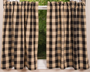 "Buffalo Check Black and Tan 72"" x 36"" Unlined Cotton Curtain Curtain Tiers by Primitive Home Decors"