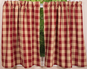 "Buffalo Check Red and Tan 72"" x 36"" Unlined Cotton Curtain Curtain Tiers by Primitive Home Decors"