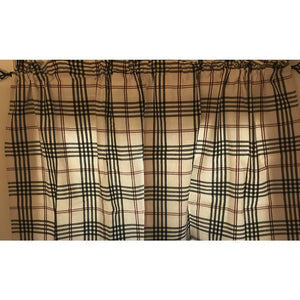 "Chesterfield Check Cream with Black and Red 36"" Lined Cotton Curtain Tiers by Raghu"
