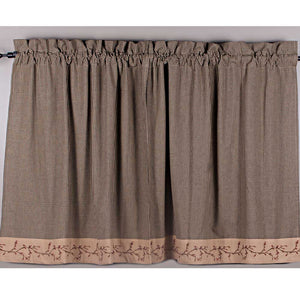 Berry Vine Gingham 36 Inch Curtain Tiers - Black