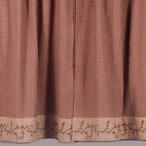 Berry Vine Gingham Check Embroidered Curtain Tiers - Red or Black