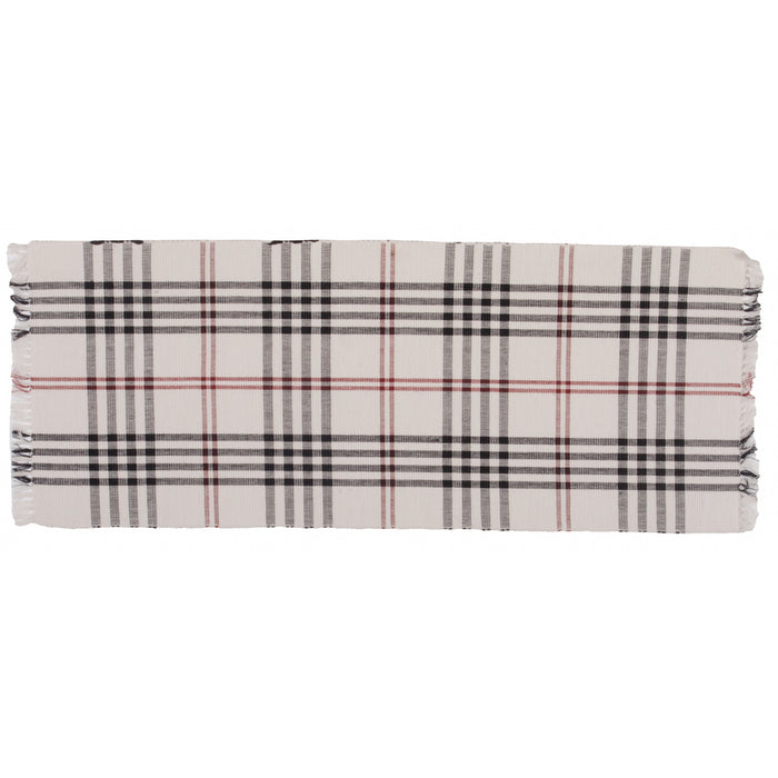 Chesterfield Check Table Runner Cream - Black - Red by Raghu