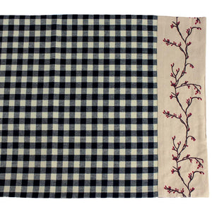 Berry Vine Check Table Runner - Black by Raghu