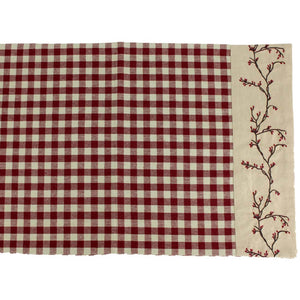 Berry Vine Check Table Runner - Barn Red by Raghu