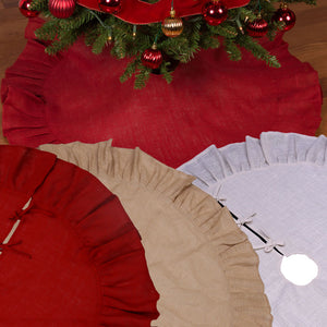 "Christmas Tree Skirt with Ruffled Edge - 36"" and 60"" Rustic Trees Skirts available in Natural Tan, Red or Cream - Jute Burlap With Cotton Backing and Ties"