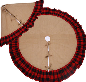 "Rustic Christmas Tree Skirt with Red and Black Check Ruffled Edge - 36"" and 52"" Jute Burlap Trees Skirts With Cotton Backing and Ties"