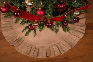 "36"" Natural Tan Christmas Tree Skirt with Ruffled Edge and Cotton Backing"