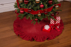 "36"" Festive Red Christmas Tree Skirt with Ruffled Edge and Cotton Backing"