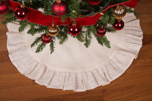 "36"" Cream Christmas Tree Skirt with Ruffled Edge and Cotton Backing"