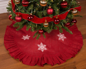 "36"" Red Christmas Tree Skirt with White Snowflakes and Ruffled Edge"