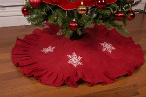 "36"" Red Christmas Tree Skirt with White Snowflakes and Ruffled Edge by"